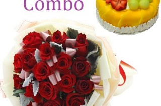 Birthday Combo with Flowers and Birthday Cake